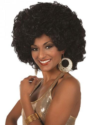Afro pruik voor dames zwart (bron: Disco-feestwinkel)