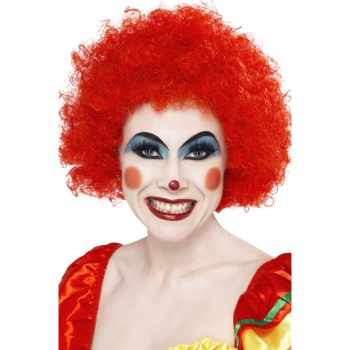 Crazy clown wig rode afro (bron: Disco-feestwinkel)