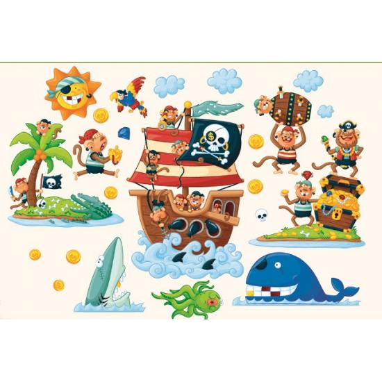 Decoratie muurstickers piraten eiland