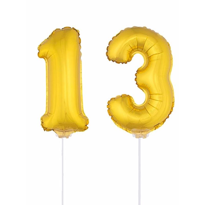 Folie ballonnen cijfer 13 goud 41 cm