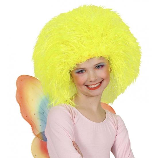 Gele afro kinderpruik (bron: Disco-feestwinkel)