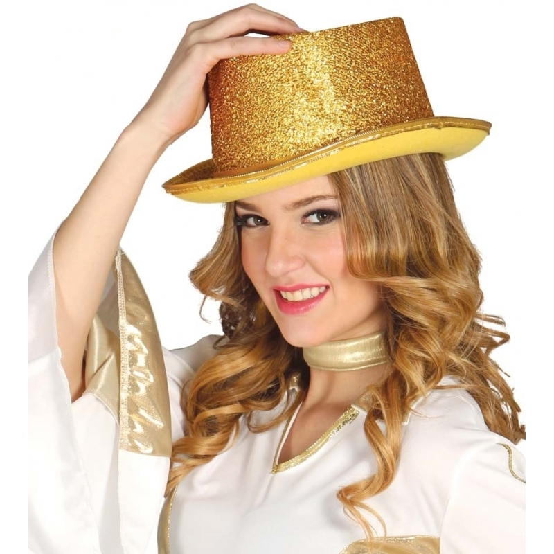 Glitter hoge hoed goud (bron: Disco-feestwinkel)