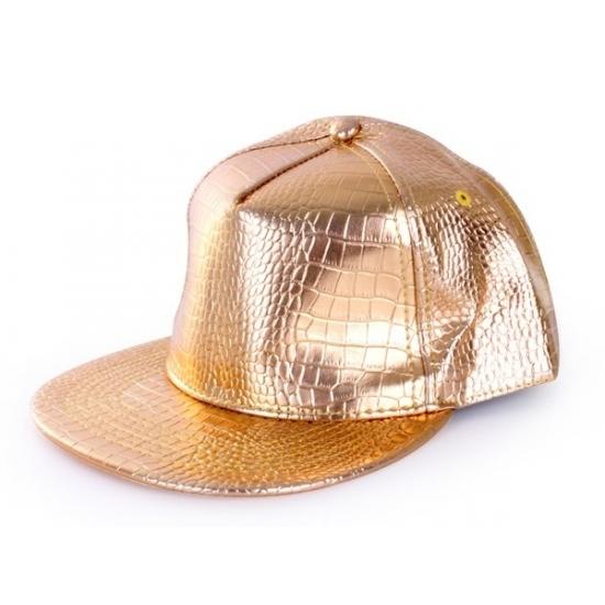 Gouden rapper cap krokodillenprint (bron: Disco-feestwinkel)