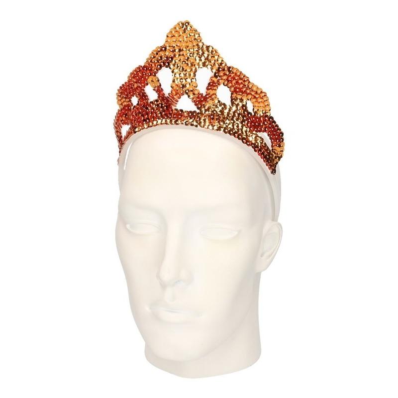 Gouden tiara met nep diamanten