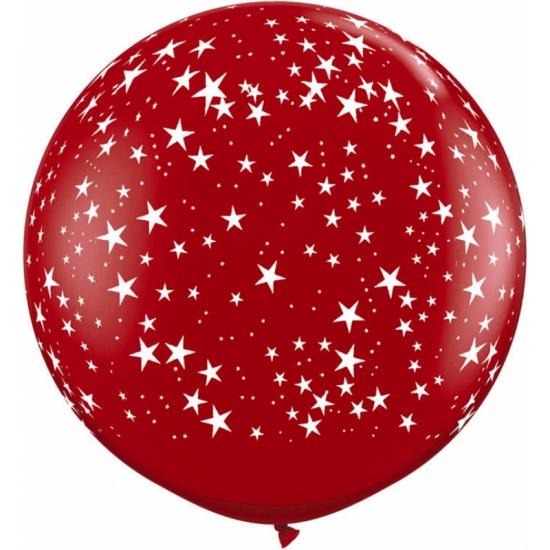 Grote rode ballon met sterren 90 cm (bron: Disco-feestwinkel)