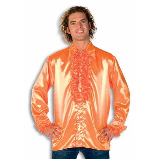 Luxe heren rouche overhemd oranje