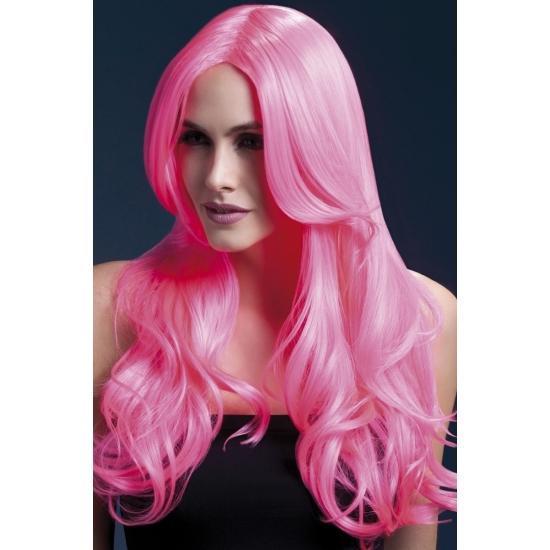 Luxe pitspoes pruik roze fringe (bron: Disco-feestwinkel)