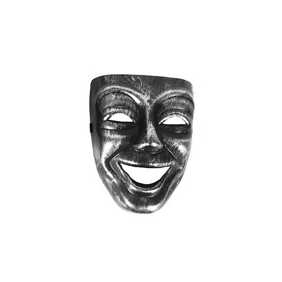 Narrenmasker zilver/zwart