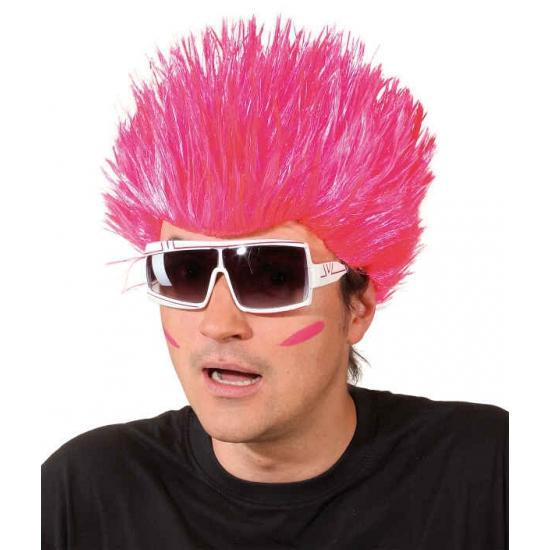 Neon roze pruik voor volwassenen (bron: Disco-feestwinkel)