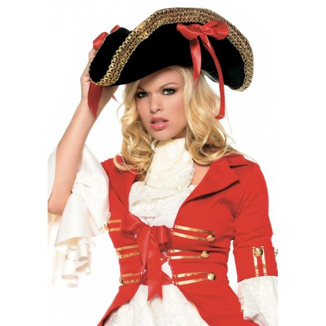 Piraat hoed zwart met strikken (bron: Disco-feestwinkel)