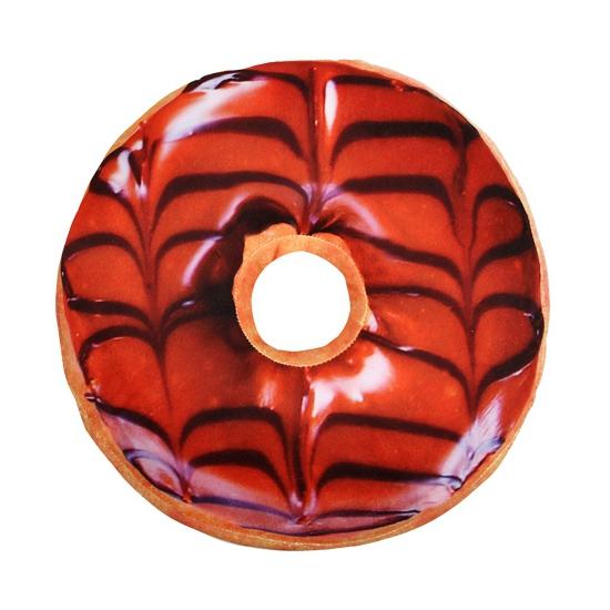 Pluche donut kussen bruin 40 cm (bron: Disco-feestwinkel)