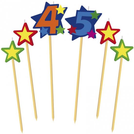 Prikker kaarsjes cijfer 45 (bron: Disco-feestwinkel)
