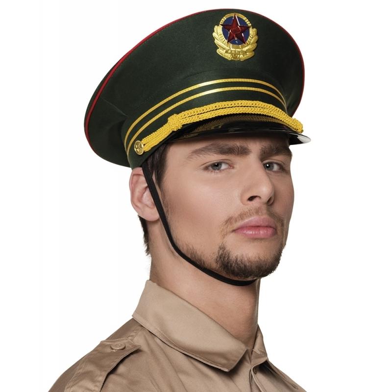 Russische militair pet groen (bron: Disco-feestwinkel)