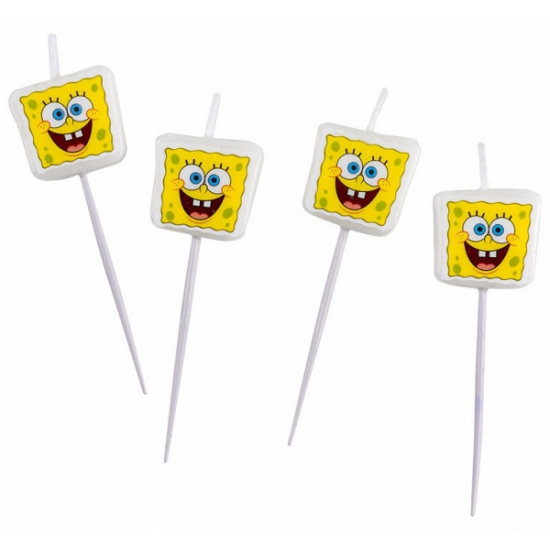 Spongebob kaarsjes 4 stuks