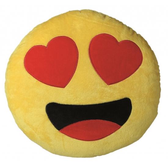 Verliefde emoticon kussentje 30 cm