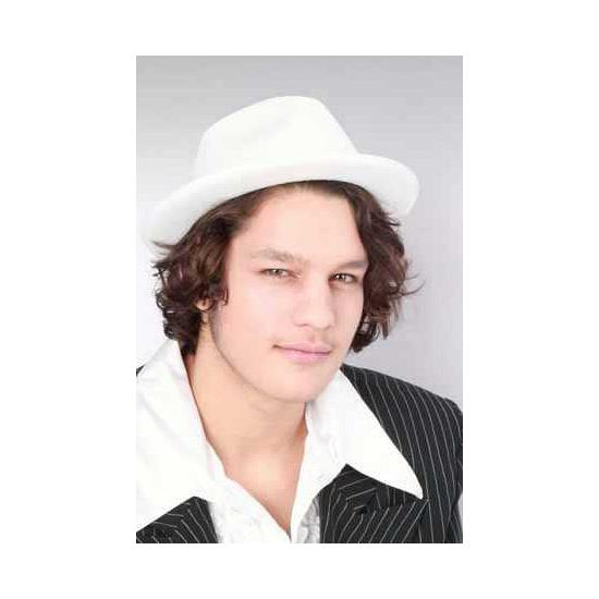 Witte kojak hoeden (bron: Disco-feestwinkel)