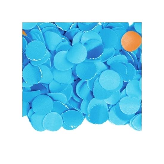 Zakje met 100 gram blauwe confetti (bron: Disco-feestwinkel)