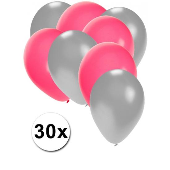 Zilveren en roze ballonnen 30 stuks