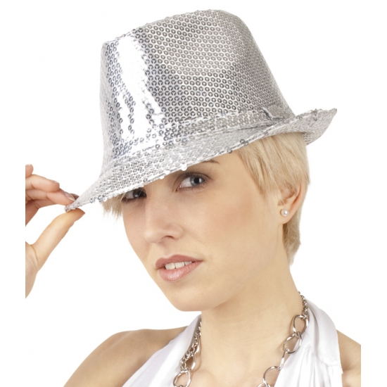 Zilveren hoed met pailletten