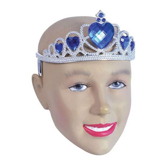 Zilveren tiara met blauwe steentjes