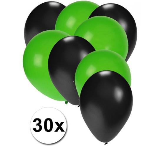 Zwarte en groene ballonnen 30 stuks (bron: Disco-feestwinkel)