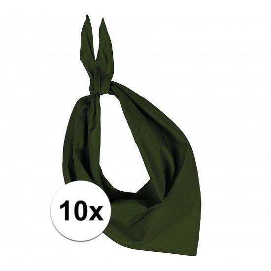 10 stuks olijf groen hals zakdoeken Bandana style