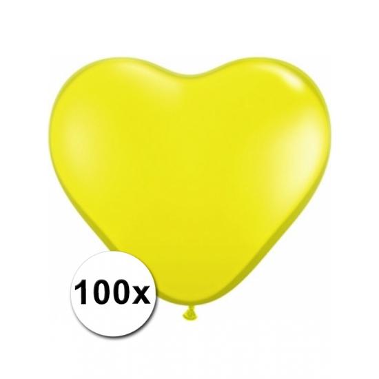 100 stuks Hart ballonnen geel