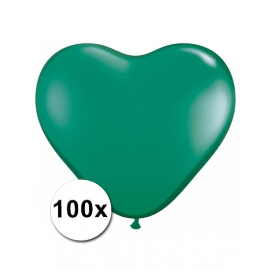 100 stuks Hart ballonnen groen