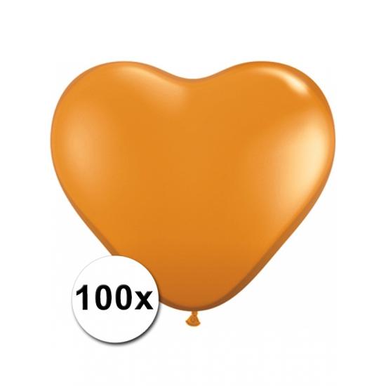 100 stuks Hart ballonnen oranje