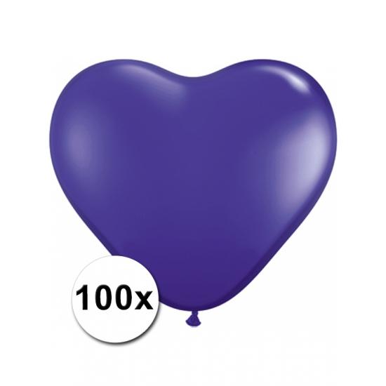 100 stuks Hart ballonnen paars