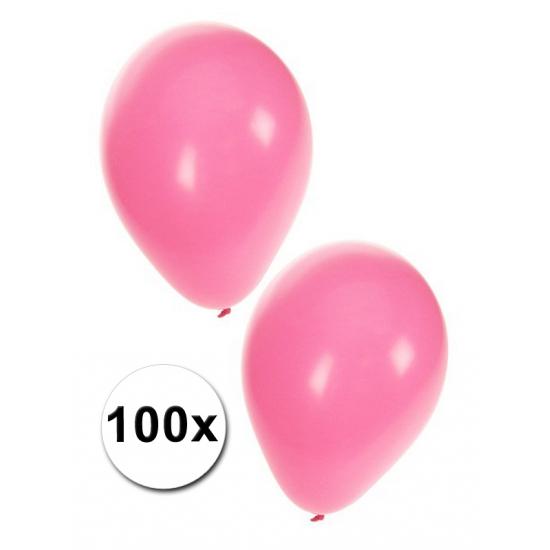 100x Lichtroze feest ballonnen