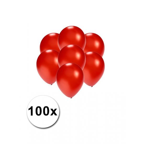 100x Mini ballonnen rood metallic