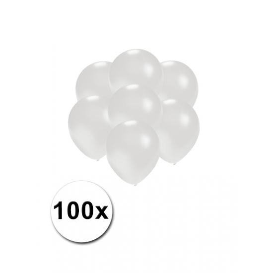 100x Mini ballonnen wit metallic