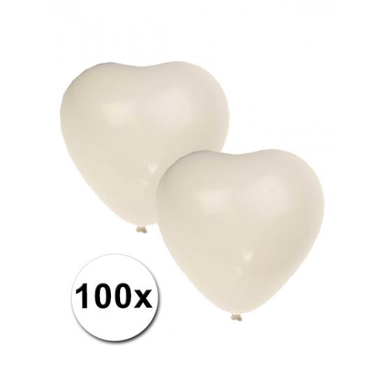 100x Witte hartjes ballonnen