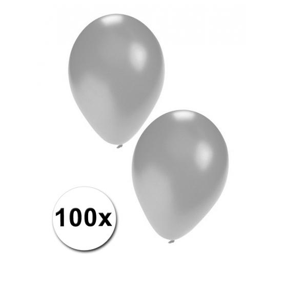 100x Zilveren feest ballonnen