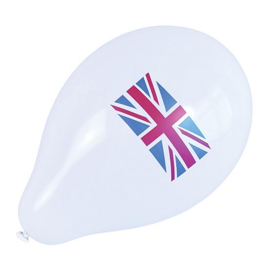 10x Ballonnen wit Engelse landen vlag
