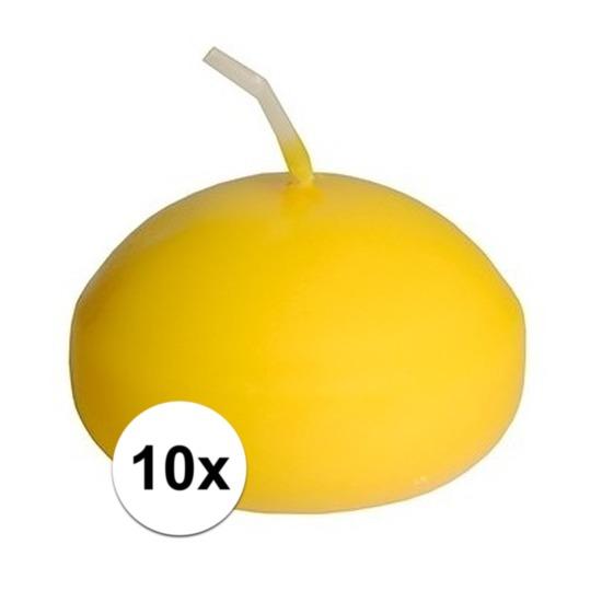 10x Drijfkaarsen geel decoratie/versiering