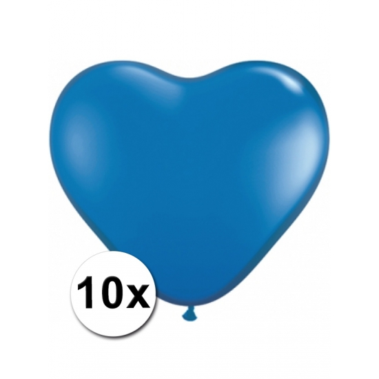 10x Hart ballonnen blauw
