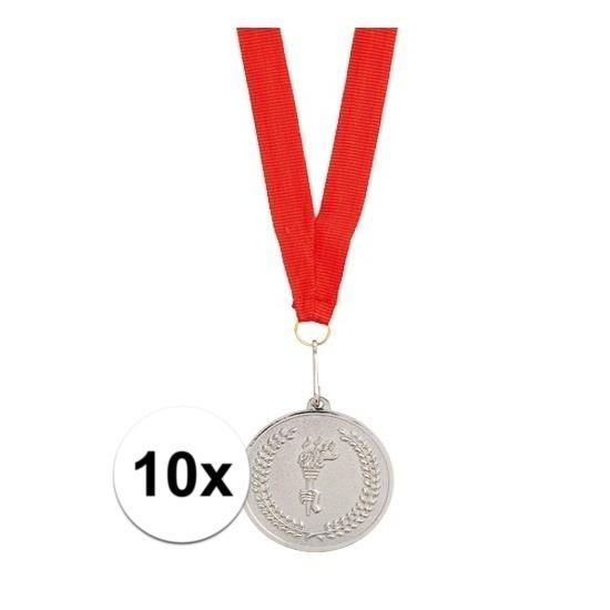 10x Medailles zilver aan rood lint