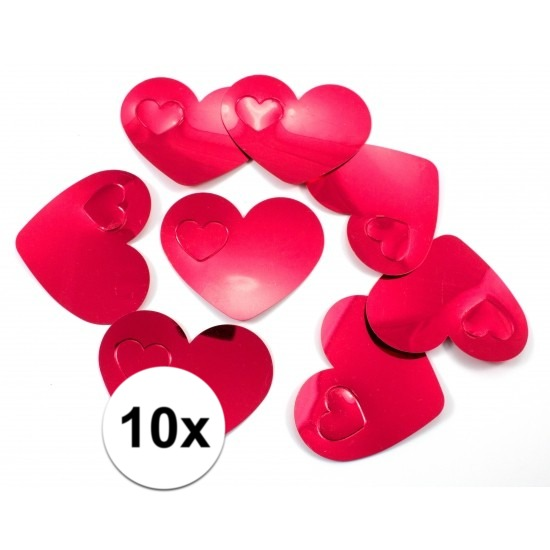 10x mega strooi confetti rode hartjes