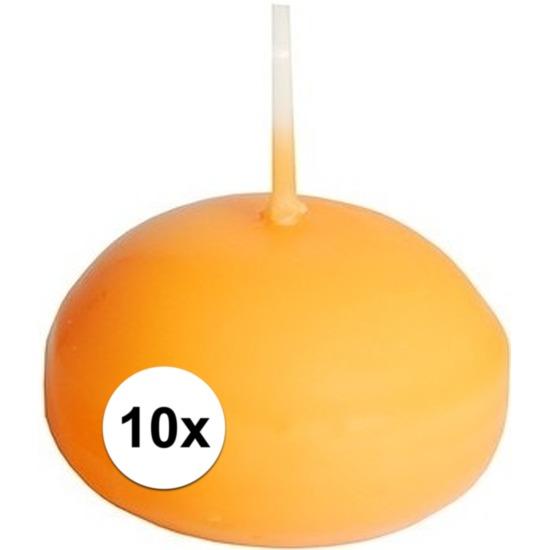 10x Oranje drijvende kaarsen feestartikelen