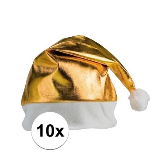 10x stuks Kerstmutsen glimmend goud