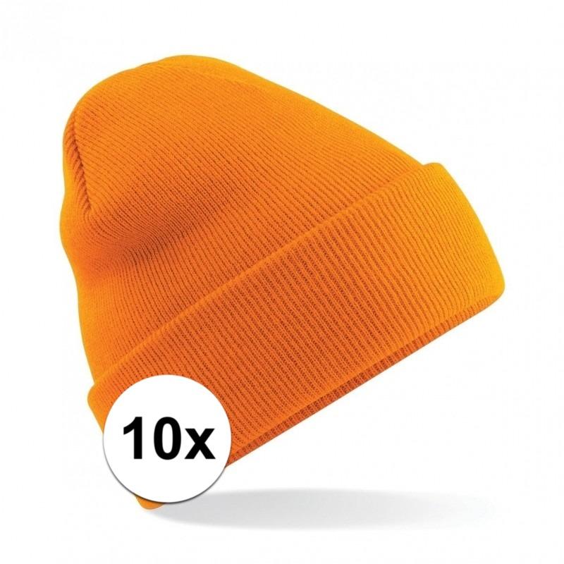 10x Warme gebreide muts in het oranje