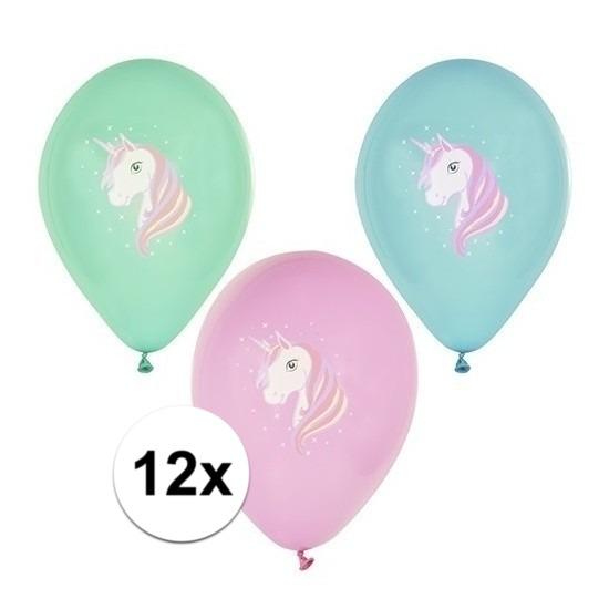 12x Eenhoorn thema verjaardag feest ballonnen gekleurd