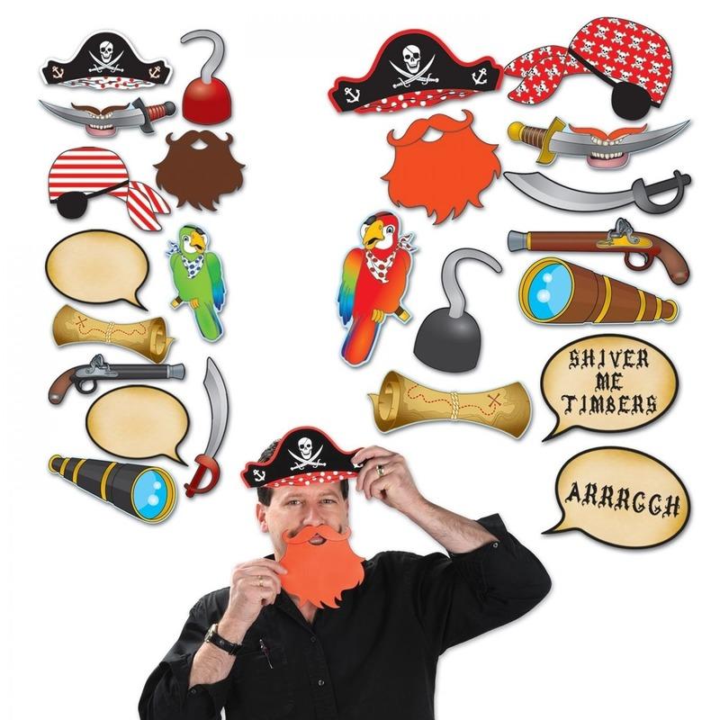 12x Photo booth props setje piraat thema