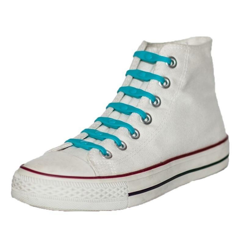 14x Aqua blauwe schoenveters elastisch/elastiek siliconen