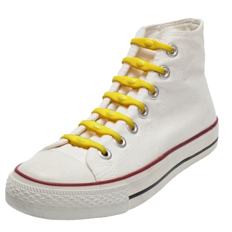 14x Gele schoenveters elastisch/elastiek siliconen