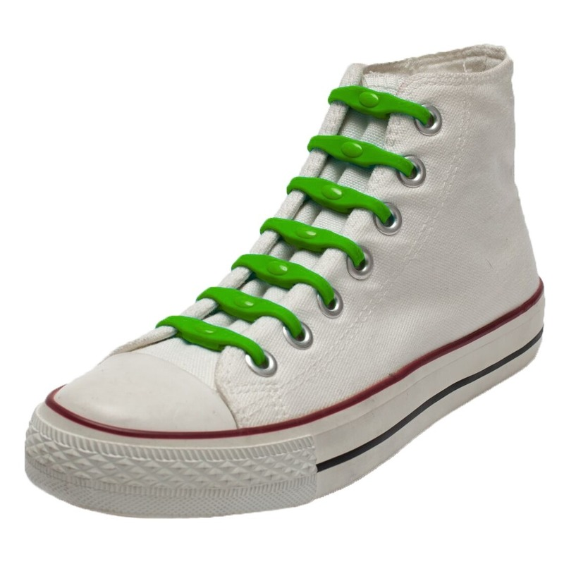 14x Groene schoenveters elastisch/elastiek siliconen