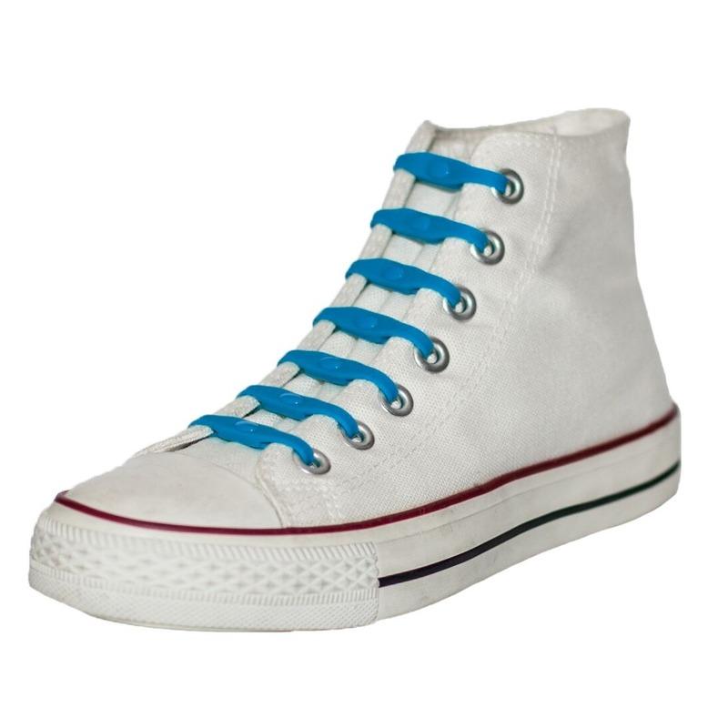 14x Kobaltblauwe schoenveters elastisch/elastiek siliconen