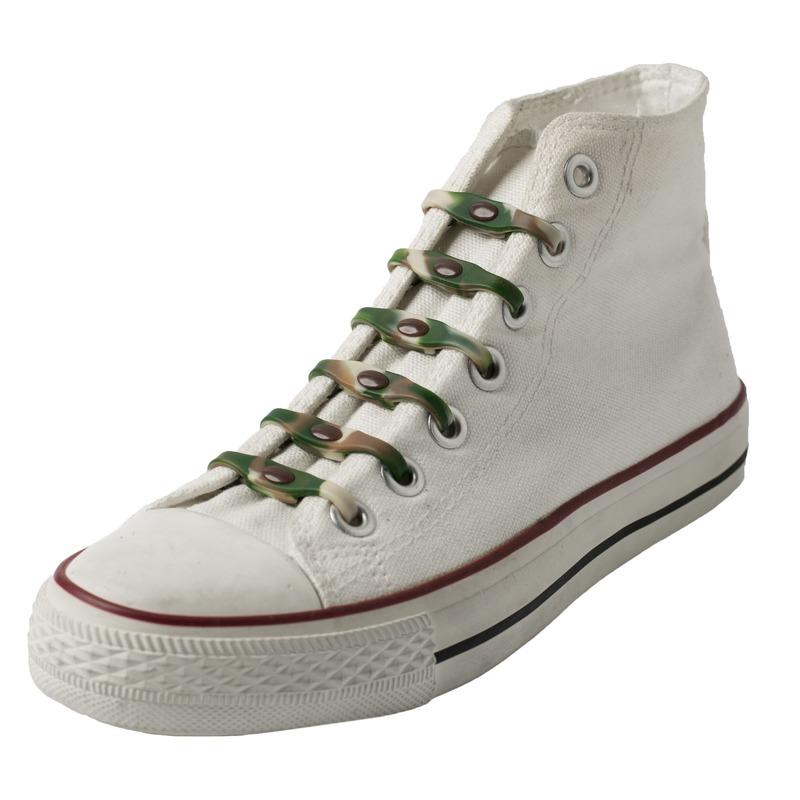 14x Legerprint schoenveters elastisch/elastiek siliconen